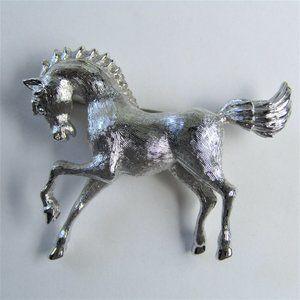 Monet Silver Tone Brooch Horse Pony